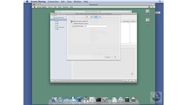 Configuring the FTP protocol option: Mac OS X Server 10.5 Leopard Essential Training