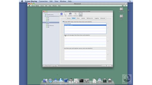 Configuring mail relay options: Mac OS X Server 10.5 Leopard Essential Training