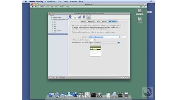 Configuring default web services options: Mac OS X Server 10.5 Leopard Essential Training