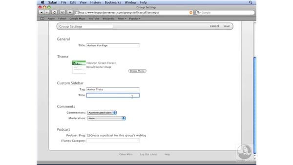 Configuring wiki administration settings: Mac OS X Server 10.5 Leopard Essential Training