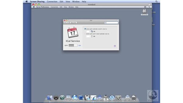 Configuring iCal services on Standard Server: Mac OS X Server 10.5 Leopard Essential Training