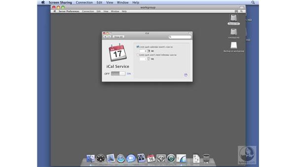 Configuring iCal services on Workgroup Server: Mac OS X Server 10.5 Leopard Essential Training