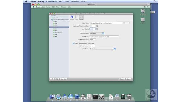 Configuring iCal services on Advanced Server: Mac OS X Server 10.5 Leopard Essential Training