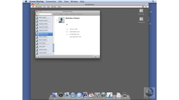 Configuring shared contact on Workgroup Server: Mac OS X Server 10.5 Leopard Essential Training
