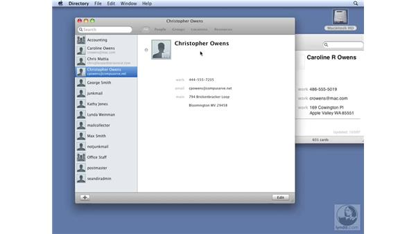 Working with shared contact services: Mac OS X Server 10.5 Leopard Essential Training