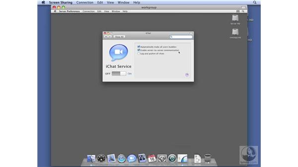 Configuring iChat services on Workgroup Server: Mac OS X Server 10.5 Leopard Essential Training