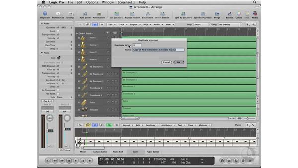 Creating and customizing screensets: Logic Pro 8 Essential Training