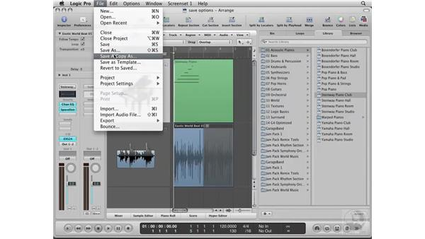 Understanding the importance of saving iterations: Logic Pro 8 Essential Training