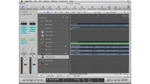 Comping the vocal: Logic Pro 8 Essential Training