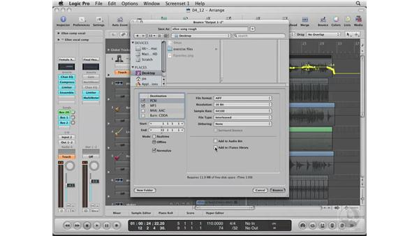 Bouncing the song: Logic Pro 8 Essential Training