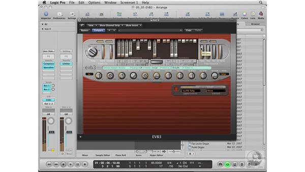 Using the EVB3 Vintage Organ Synth: Logic Pro 8 Essential Training