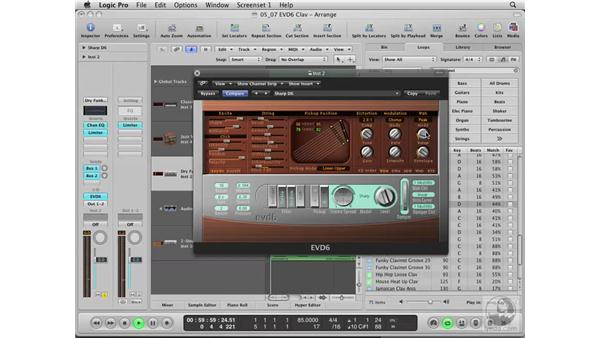 Using the EVD6 Vintage Clavinet Synth: Logic Pro 8 Essential Training