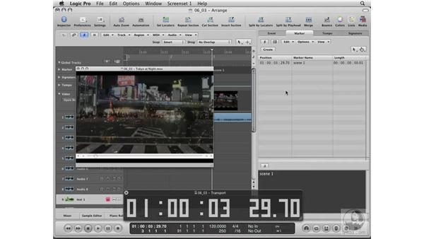 Creating timeline markers: Logic Pro 8 Essential Training