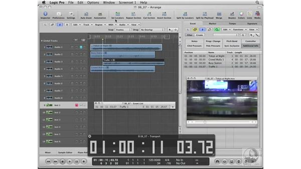Adding sound effects to your movie: Logic Pro 8 Essential Training