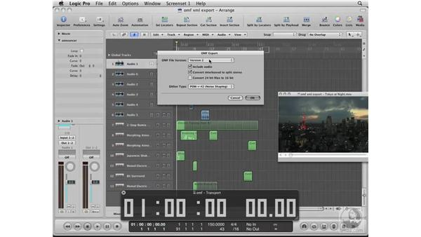 Exporting XML files from Logic back into Final Cut Pro: Logic Pro 8 Essential Training