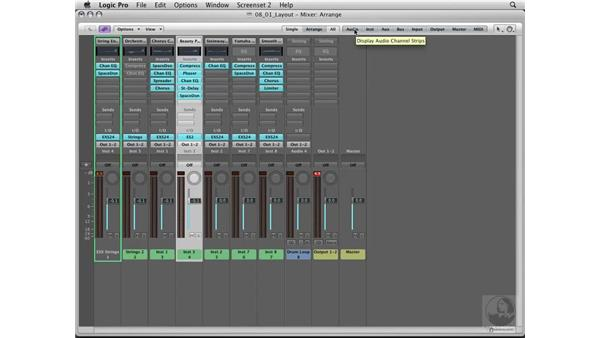 The mixer interface: Logic Pro 8 Essential Training
