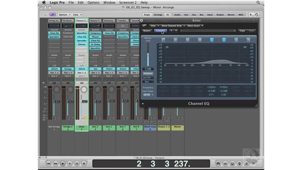 Learning the sounds using EQ Sweep: Logic Pro 8 Essential Training
