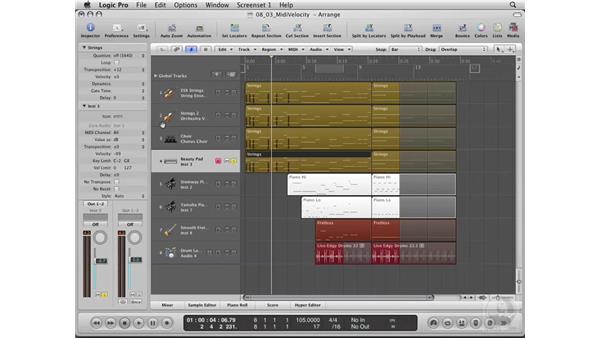 Mixing using MIDI velocity: Logic Pro 8 Essential Training