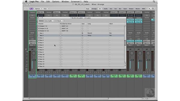 Naming your Input and Output labels: Logic Pro 8 Essential Training