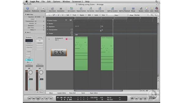 Working with key signatures and transposition: Logic Pro 8 Essential Training