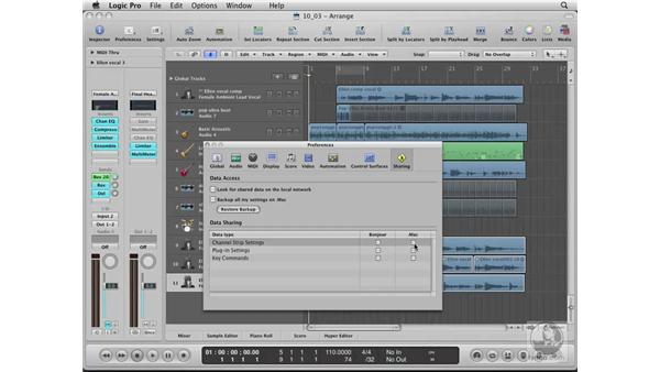Backing up custom settings to a network: Logic Pro 8 Essential Training