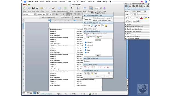 Using the Mail Merge Manager: Office for Mac 2008 New Features