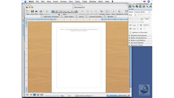 Using the Publishing layout: Office for Mac 2008 New Features