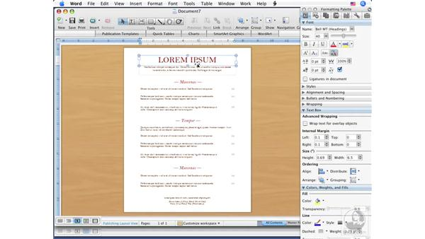 Using Publication templates: Office for Mac 2008 New Features