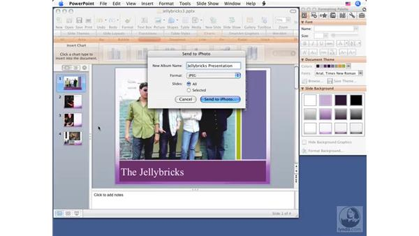 Sending slideshows to iPhoto: Office for Mac 2008 New Features