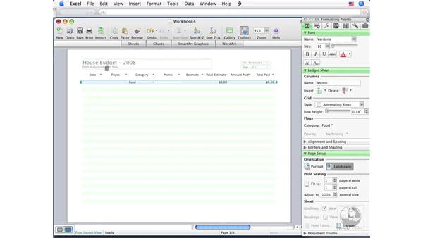 Using Ledger Sheets: Office for Mac 2008 New Features