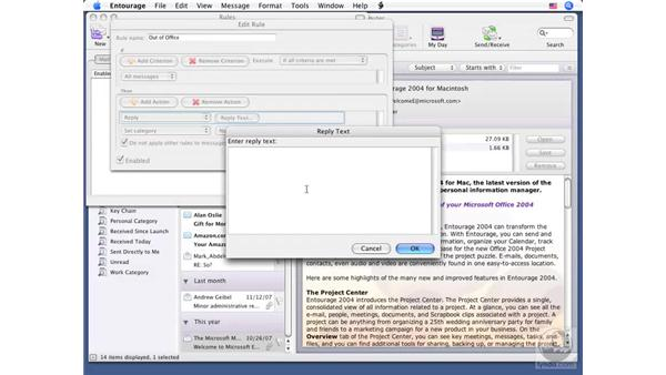 Creating out-of-office messages: Office for Mac 2008 New Features
