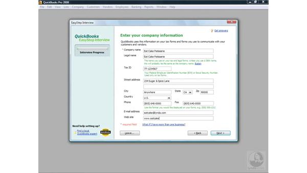 Starting the Easy Step Interview: QuickBooks Pro 2008 Essential Training
