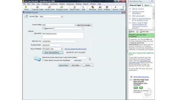Creating an account: QuickBooks Pro 2008 Essential Training