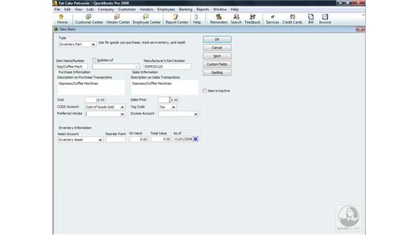 Adding an inventory item: QuickBooks Pro 2008 Essential Training