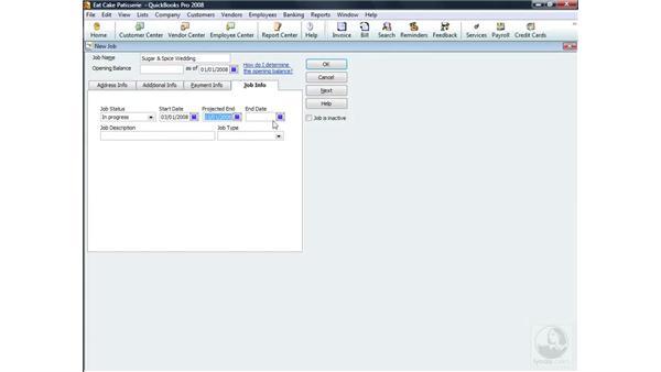 Adding a new job: QuickBooks Pro 2008 Essential Training