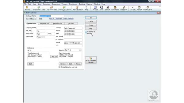 Making customers inactive and deleting accounts: QuickBooks Pro 2008 Essential Training