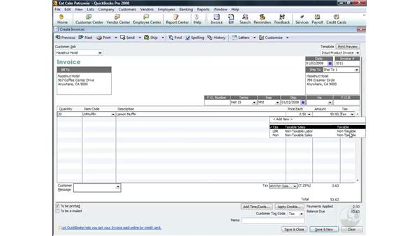 Creating an invoice: QuickBooks Pro 2008 Essential Training