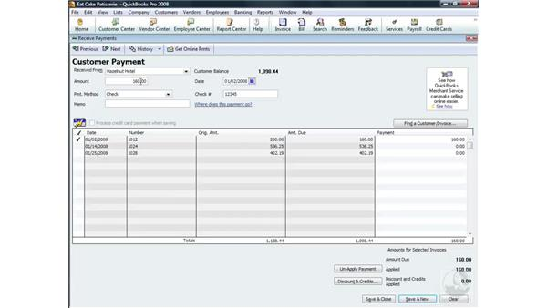 Receiving payments: QuickBooks Pro 2008 Essential Training