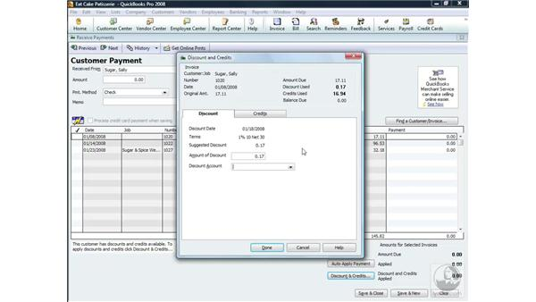 Applying discounts and credits: QuickBooks Pro 2008 Essential Training