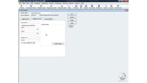 Setting a vendor account number: QuickBooks Pro 2008 Essential Training