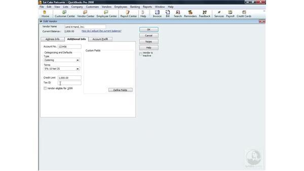 Categorizing vendors and defaults: QuickBooks Pro 2008 Essential Training