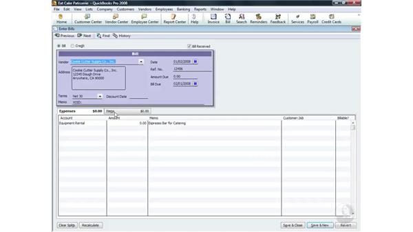 Editing, deleting, or voiding a bill: QuickBooks Pro 2008 Essential Training