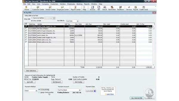 Paying a bill: QuickBooks Pro 2008 Essential Training