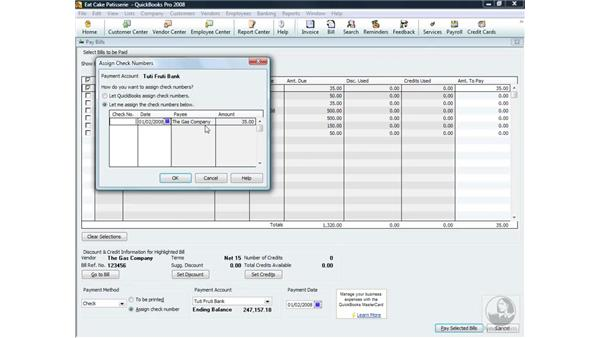 Assigning check numbers: QuickBooks Pro 2008 Essential Training