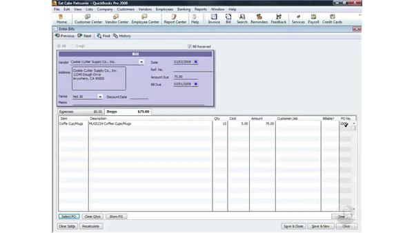 Receiving items and entering bills at the same time: QuickBooks Pro 2008 Essential Training
