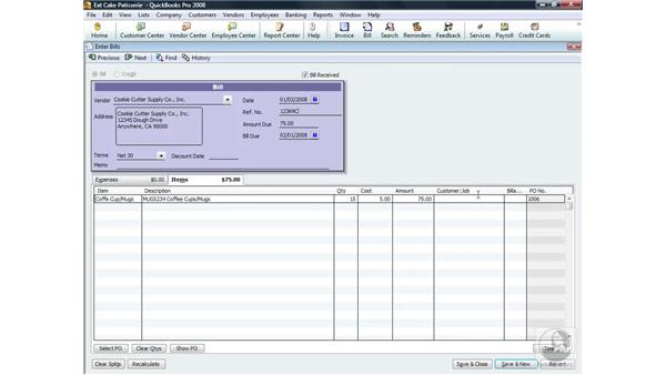 Entering a bill for received items: QuickBooks Pro 2008 Essential Training