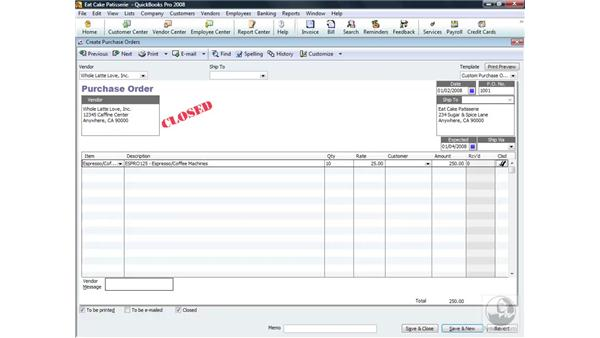 Learning to close a purchase order: QuickBooks Pro 2008 Essential Training