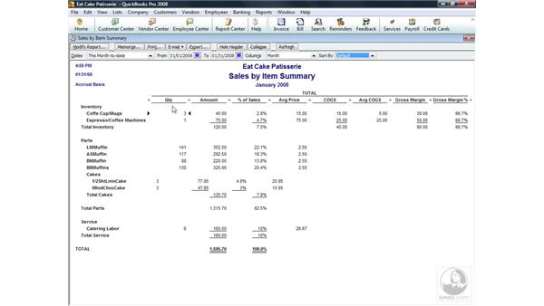 Understanding Sales by Item Summary reports: QuickBooks Pro 2008 Essential Training
