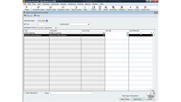 Performing a manual inventory adjustment: QuickBooks Pro 2008 Essential Training