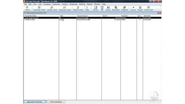Understanding memorized transactions: QuickBooks Pro 2008 Essential Training